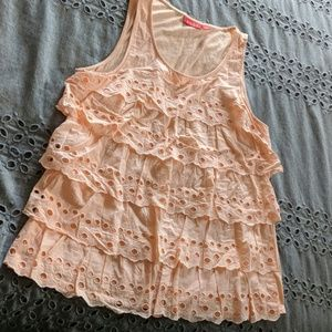 Large Pink Ruffle Tank Top by Elle